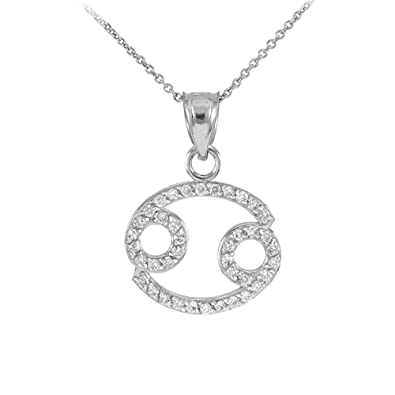 Amazon high polish 14k white gold diamond cancer zodiac pendant high polish 14k white gold diamond cancer zodiac pendant necklace 16quot aloadofball Gallery