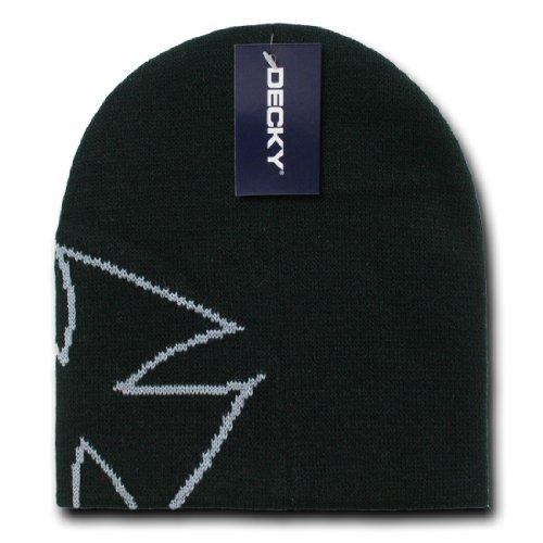 Decky Inc Chopper Style Iron Cross Winter Short Beanie Skull Hat 8026 Black Grey Beanie Hat Choppers