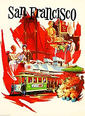 San Francisco Vintage Travel advertising  Poster reproduction