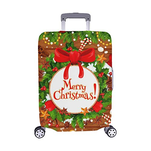 Christmas Tree Holly Wreath New Year Spandex Trolley Case Travel Luggage Protector Suitcase Cover 28.5 X 20.5 Inch