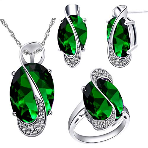 Charm Oval Green - Uloveido Female Large Oval Green Crystal Necklace Charm Choker Necklace Post Stud Earrings Rings Bridesmaid Jewelry Set for Women (Green, Size 7) T472