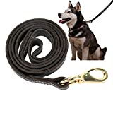 Leather Dog Leash Walking Training Leads for German Shepherd (5/8''x3.6ft, Black)