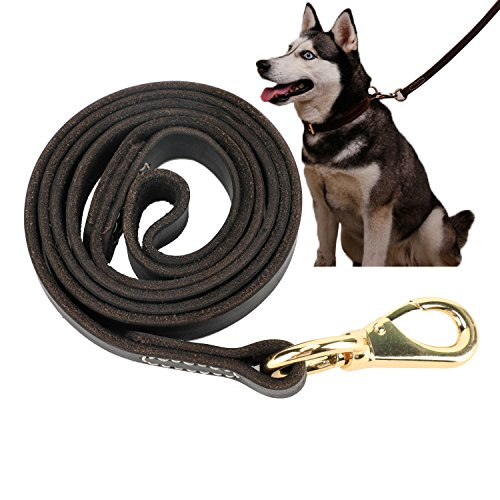 Leather Dog Leash Walking Training Leads for German Shepherd (5/8''x3.6ft, Black) by LNASI