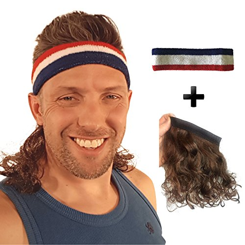 Kenny Powers Halloween Costumes (Magic Mullet wig attaches to any headwear, more than just a mullet headband)