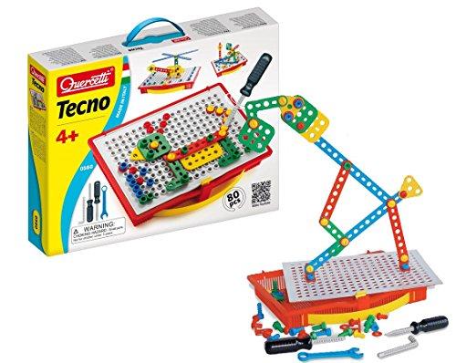 Quercetti 0560 - Fantacolor Tecno Baukasten mit Werkzeug und Schrauben