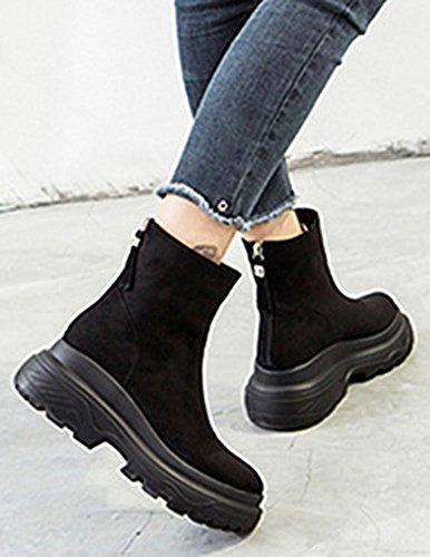 Easemax Women's Unique Zip Up Wedge Mid Heeled Faux Suede Round Toe Ankle High Motor Boots Black QeYjznLn