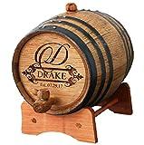 Personalized Custom Engraved Mini Oak Whiskey or Wine Aging Barrel - 1 Liter - Fancy Design