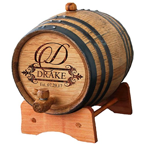 Personalized Custom Engraved Mini Oak Whiskey or Wine Aging Barrel - 1 Liter - Fancy Design