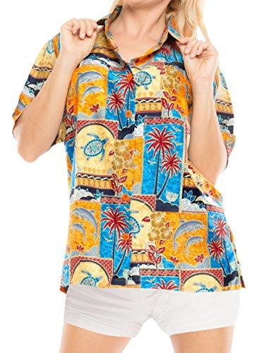 (LA LEELA Likre Short Sleeve Collar Camp Shirt Matching 154 XXL - US 44 -)
