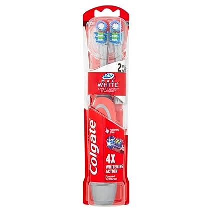 Colgate Max Blanco Expert blanco recargable cepillo de dientes cabezal de dos unidades: Amazon.es: Salud y cuidado personal