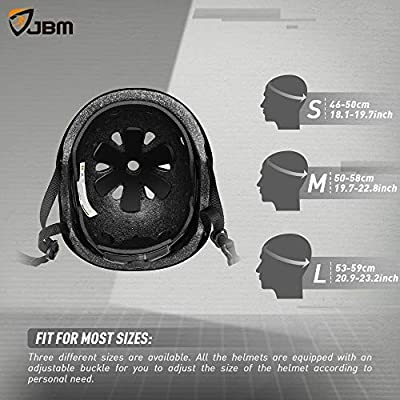 JBM Skateboard Helmet CPSC ASTM Certified Impact Resistance Ventilation for Multi-Sports Cycling Skateboarding Scooter Roller Skate Inline Skating Rollerblading Longboard : Sports & Outdoors