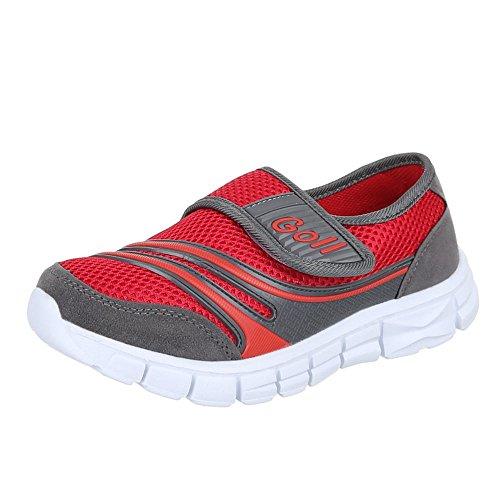 Kinder Schuhe, EL11096, FREIZEITSCHUHE, TURNSCHUHE SPORTSCHUHE, Synthetik in hochwertiger Wildlederoptik , Grau Rot, Gr 33