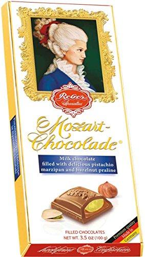 Chocolate Covered Nougat Marzipan - Reber Milk Chocolate Mozart Bar, 3.5 Ounce