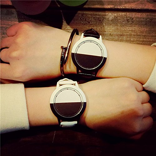 ETbotu Couple LED Touch Screen Personality Large Dial Student Concise Hit Color Lovers Watch Black &White by ETbotu