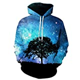Eaglebeky Galaxy Woods Printed Hoodie Unisex Sweatshirts Boy Pullover Fashion Animal Streetwear Clothes (1, 5XL)