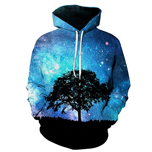 Eaglebeky Galaxy Woods Printed Hoodie Unisex Sweatshirts Boy Pullover Fashion Animal Streetwear Clothes (1, 5XL) by Eaglebeky (Image #1)