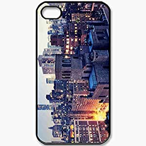 Protective Case Back Cover For iPhone 4 4S Case New York Twilight Lights Black