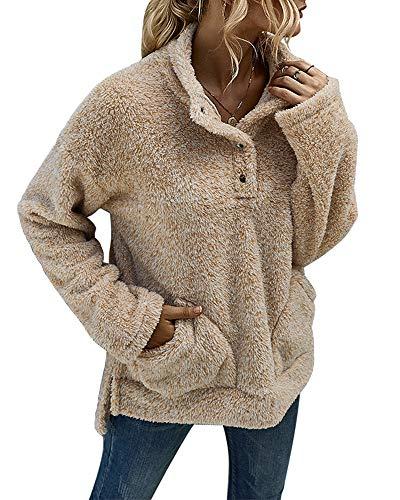 Ybenlover Pullover dames fleece sweatshirt teddy pluche hoodie met zakken rolkraag pullover