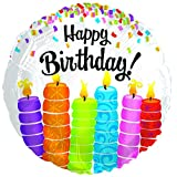 Birthday Colorful Candles 17 Inch Mylar Balloon (5 Pack)