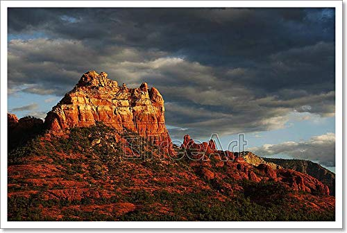Barewalls Landscape Sunset Evening Red Rock at Sedona Arizona,Storm Coming in Paper Print Wall Art (16in. x 24in.)