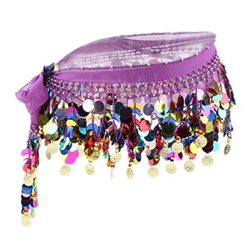 Taille Ventre Ceinture Hanche Du MagiDeal Jupe Paillette Femmes charpe Perle Violet Danse 7vwzHX