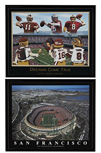 Joe Montana, Steve Young & Alex Smith Framed Lithograph & San Francisco 49'ers Candlestick Park Framed Aerial Print Set of 2 (San Francisco Lithograph)