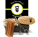 Mens Beard Grooming Kit Set, INCLUDES Beard Brush, Beard Comb, Barber Scissors for Styling, Trimming, Shaping & Grooming Awesome, Soft, Pliable Beards – BEST Beard Grooming Products Gift Pack For Men