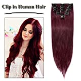 Clip in Hair Extensions Wine Red 14-24 inch Remy Human Hair for Women 8pcs 18 Clips Full Head Soft Straight Hair(24'=80g #99J)