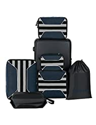 6pcs Set Packing Cubes, Travel Luggage Packing Organizers, Shoes Bag and Laundry Bag
