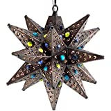Moravian Star Light, Flower Pierced Tin, Bronze with Marbles, 12""