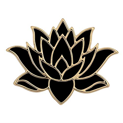 SENFAI 10K Gold Color Cute White Enamel Lotus Pin and Brooch (Black Gold) (10k Brooch)