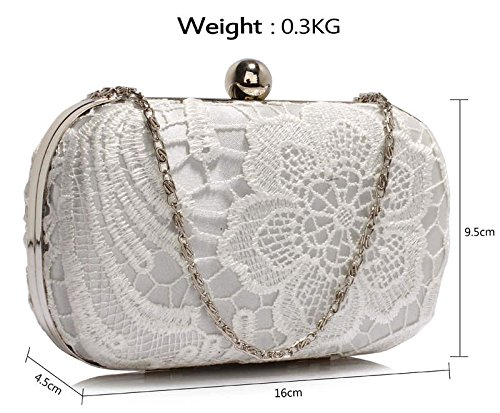Handbag With For 1 Chain Ivory Designer Evening Box Design Clutch Lace Women Ladies New Bag HardCase qP8TtS