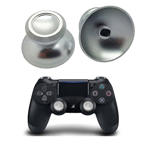 - PinPle Metal Analog Thumbsticks Thumb Stick Joystick Replacement Cap Cover for PS4, Silver