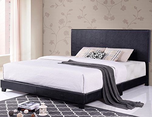 Harper&Bright Designs Vienna Faux Leather Upholstered Platform Bed with Wooden Slats (Bright Frame)