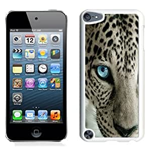 Fashionable Custom Designed iPod Touch 5 Phone Case With Snow Leopard Blue Eye_White Phone Case