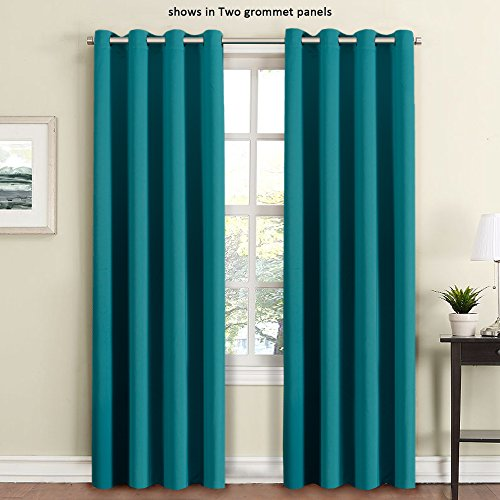 FlamingoP Blackout Ultimate Performance Solid Pattern Drape, Light  Blocking, Grommet Top, One Panel 84 By 52 Inch  Teal