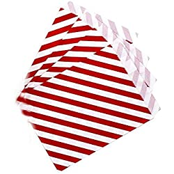 AKOAK 50 Pcs 5 x 7 Inches White and Red Striped Paper Bags,Holiday Wedding Christmas Favor Candy Treat Bags