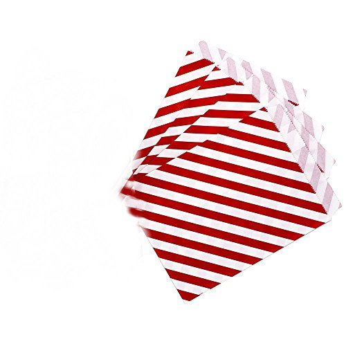 AKOAK 50 Pcs 5 x 7 Inches White and Red Striped Paper Bags,Holiday Wedding Christmas Favor Candy Treat -