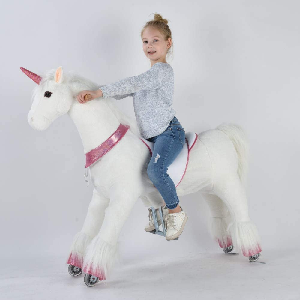 UFREE Caballo, cumpleaños para niñas, Pony mecedor de Juguete, Altura de 110 cm para niños a Partir de 6 años y Adultos, Extraordinaria Sorpresa de cumpleaños, Unicornio con Cuerno Rosado.