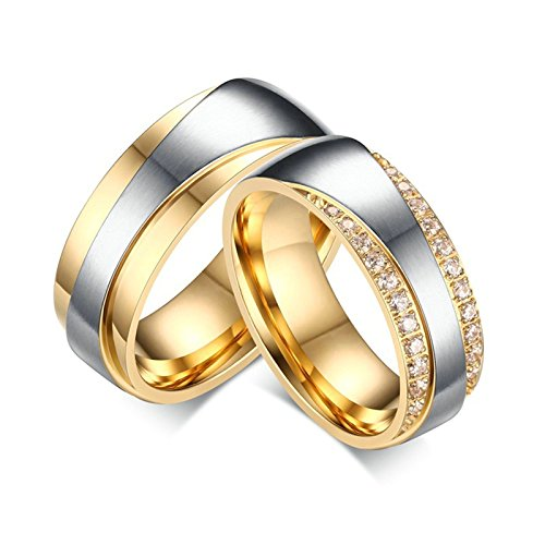 EoCot Stainless Steel 1 Pair High Polished Couple Lover Wedding Promise Band Matching Set with Micro CZ Comfort Fit Women 5 & Men 9 - Fiber Nest Ring