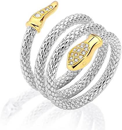 Mytys Two Color Tone Sliver and Gold plated Crystal Wide Around Multi Row Snake Statement Spiral Rings