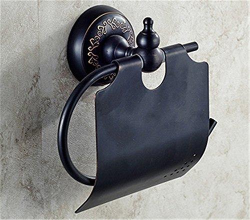 LHbox Tap Copper Bathroom Wall-Pack Black 古 Floral Bath Towel Rack Toilet Paper Towel Rod Coat Hook E