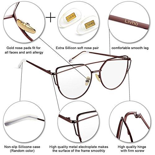 ... Livhò Sunglasses for Women, Cat Eye Mirrored Clear Lenses Metal Frame  Sunglasses UV400 Brown ... 29841bcb58d4