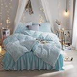 Bubble Plush Bedding Sets Blue - Winter Bed Skirt Pure Cover Duvet Cover Set Ultra Soft Plush Pompons Full