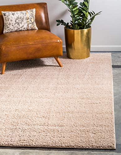 Unique Loom Serenity Solid Shag Collection Super Soft Micro Polyester Taupe Area Rug 8 0 x 10 0