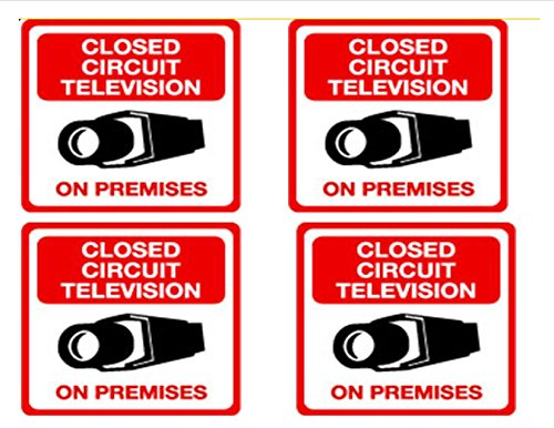Security Decal - #203 4 Pack Video CCTV Security Surveillance Camera System Warning Decals Stickers – Commercial Grade . Increase Security whether you have a system or not, no one will know but you!