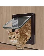 Cat Door - TKOOFN Pet Supply 4 Way Locking in & Out Cat Flap with Door Liner