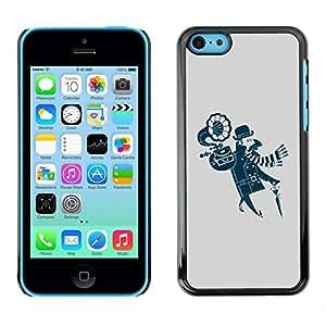 TopCaseStore / la caja del caucho duro de la cubierta de protección de la piel - Funny Hipster Portable Vinyl - Apple iPhone 5C