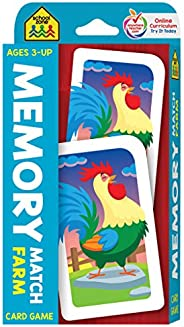 SCHOOL ZONE - Memory Match Farm Card Game, Preschool, Kindergarten, Elementary, Ages 3 and Up, Early Reading,