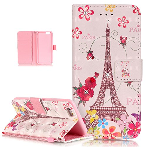 "Price comparison product image iPhone 6S Plus Case,iPhone 6 Plus Case,ikasus Glitter Diamond Colorful Painted PU Leather Flip Wallet Pouch Stand Credit Card ID Holders Case for iPhone 6/6S Plus (5.5""),Butterfly Flower Eiffel Tower"